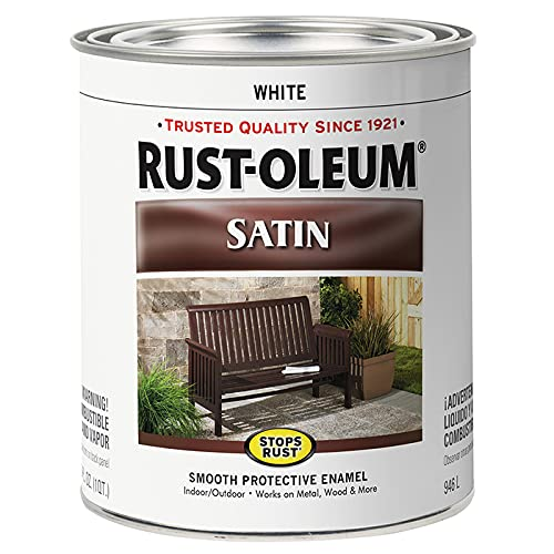 Rust-Oleum 7791502 Protective Enamel Paint Stops Rust, 32-Ounce, White Satin...