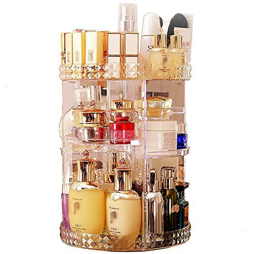 360 Grad drehbarer Make-up-Organizer, transparentes Acryl, DIY verstellbare Höhe, Kosmetikkarussell, Schmuck-Kosmetik-Ausstellungsbox, große Kapazität, drehbarer Halter, Make-up-Aufbewahrung