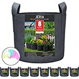 JERIA 8-Pack 7 Gallon Grow Bags, Aeration Fabric Pots with Handles (Black)