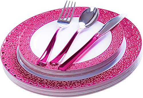 FOMOICA Hot Pink Disposable Plates and Pink Silver Silverware - 125 Piece Reusable Plastic Premium Plastic Dinnerware Set – Dinner Plates, Forks, Spoons, Knives – Birthday Parties, Wedding, Christmas