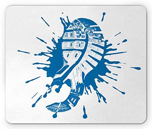 Running Mouse Pad, Schoeisel Print Illustratie met een Paint Splash Trainers Zool Sneakers, Mousepad muismat ea Blauw