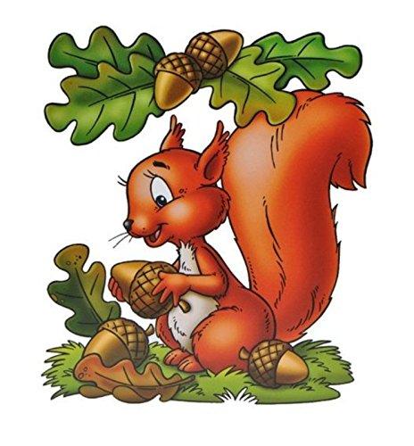dpr. Fensterbild Eichhörnchen Eicheln Blätter Laub Herbst Fenstersticker Fensterdeko Herbstdeko