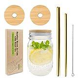Mason Jar Lids with Straw Hole, CNVOILA ECO Reusable Bamboo Mason Jar Lids for Regular Mouth Mason Jar with 2 Reusable Stainless Steel Straw – 2 LIDS & Golden Straw