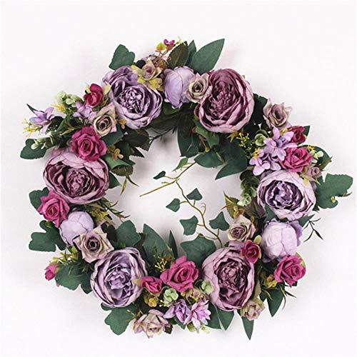 Zijden Pioen Kunstbloemen Kransen Deur Perfecte kwaliteitssimulatie Slinger voor bruiloft thuisfeest, paars