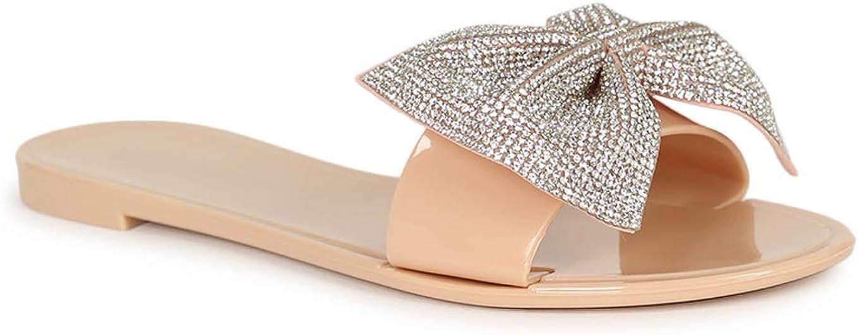 Alrisco Women's Rhinestone Bow Jelly Open Toe Slide Flat Sandal SH12 - Nude (Size: 6.0)