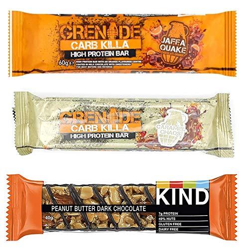 KIT Protein Bar, Kind Peanut Butter and Dark Chocolate 40g, Grenade Jaffa Orange 60g, Grenade Protein Bar Caramel 60g, Always Tasty and Nutritious