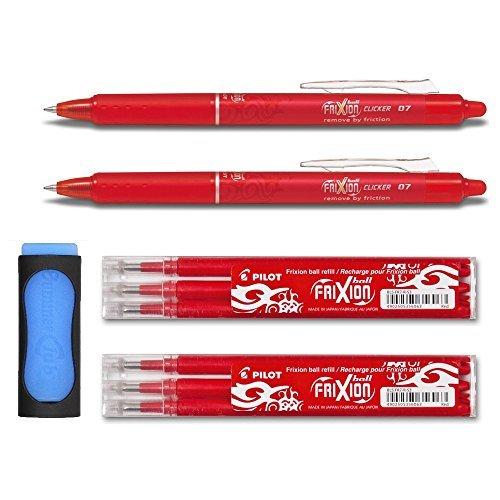 2 matite a scatto Frixion Clicker 0.7 + 6 ricariche + gomma per cancellare in omaggio