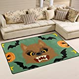 Yochoice Non-Slip Area Rugs Home Decor, Hipster Halloween Werewolf Pumpkin Animals Floor Mat Living Room Bedroom Carpets Doormats 31 x 20 inches