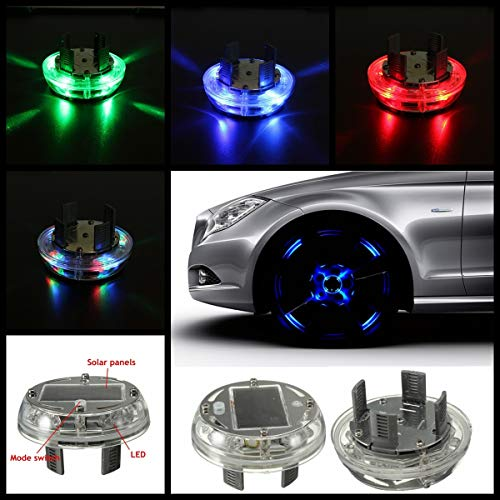 Generic 4 Modes 12 LED Stunning Waterproof Solar Car Tuning Aas Nozzle Cap Lamp Rim Light Wind Fire Wheels Led Flash Lamp Tyre Light