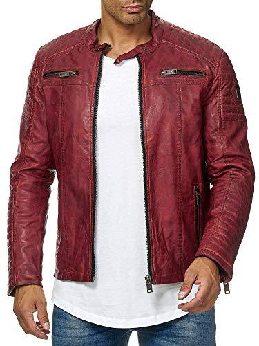 Redbridge - Giacca da uomo, stile motociclista, in vera pelle e cotone con inserti trapuntati Rosso Dirty - Ecopelle S