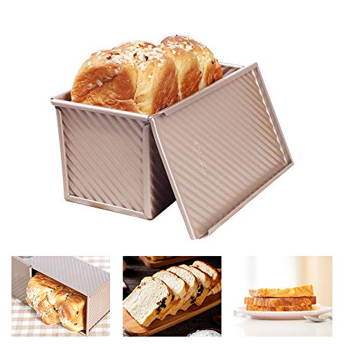 LoafPansForBakingBread, Aluminum LoafPan With Lid, Loaf Pans For Baking Bread Approximately 8.5 x 4.5 Inch. Fast Thermal Conductivity, Easy To Clean, Suitable For All Kinds Of Toast.( Gold )