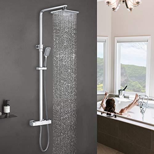 DUTRIX Duschsystem mit Thermostat Regendusche Dusche Duschsäule Edelstahl Dusch Set Handbrause Duschsysteme Duschset Brausen und schaffen mit 20x25cm eckig Kopfbrause (Chrom)