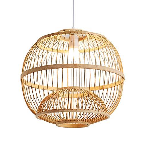 SHUANF Lámpara colgante con forma de jaula de pájaros Instalación de respuesta corta Lámpara de techo grande Lámpara de araña de color natural de ratán natural Lámpara colgante de linterna de bambú Hy