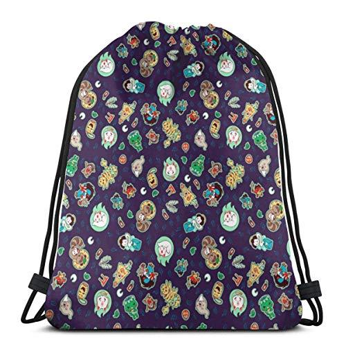XCNGG Yokai Purple Unisex Drawstring Backpack Bag, Polyester Cinch Sack, Waterproof Sport Gym Bag Casual Daypack for Women Men