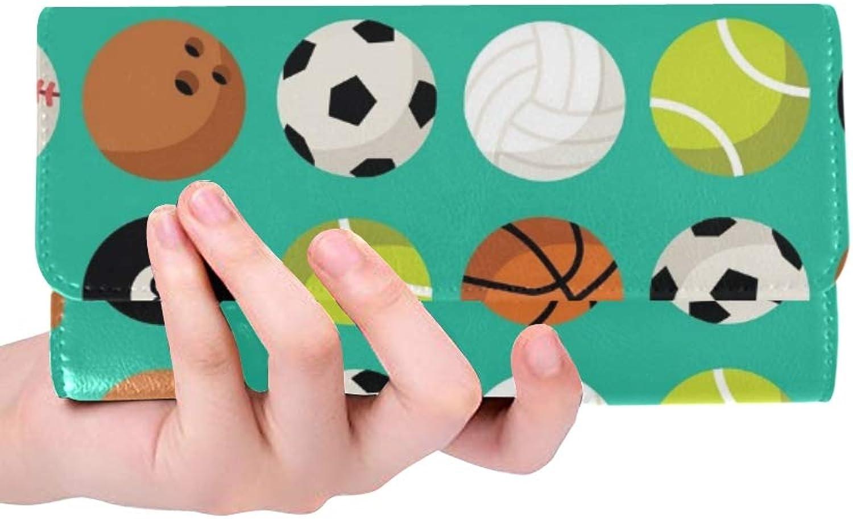 JOCHUAN Einzigartige Benutzerdefinierte Benutzerdefinierte Basketball Baseball Fußball Snooker Tennisball Frauen Trifold Brieftasche Lange Geldbörse Krotitkarteninhaber Fall Handtasche B07Q5WFHWY