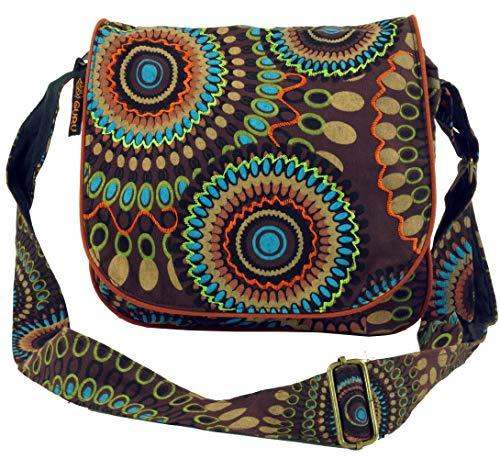 GURU SHOP Bolso de Hombro, Bolso Hippie, Bolso Goa - Marrón, Unisex - Adultos, Algodón, Tama�o:One Size, 22x23x5 cm, Bolsas de Hombro