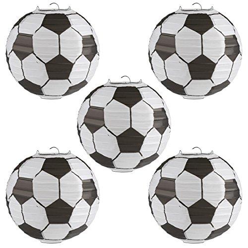 Kesote 5X Lampions Fußball Laterne Papier 8 Zoll Papierlaterne Hängedeko für Weltmeisterschaft Kinder Geburtstag Party Dekoration (20,3 cm)