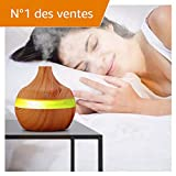 300Ml Humidificateur Ultrasonique Diffuseur Aromatherapie Humidificateur Purificateur D'Air En Bois...