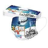Relly 20 Piezas Adulto 𝐌𝐚𝐬𝐜𝐚𝐫𝐢𝐥𝐥𝐚𝐬 Dibujos Antipolvo Protección Desechable para Impresión linda 3 Capas Protectoras con Elástico No Tejida Transpirables,Navidad