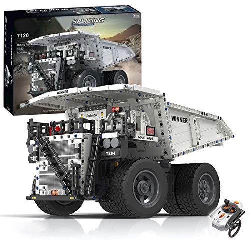 TRUU Camión minero teledirigido 1383 bloques de montaje para coche, MOC, camión, DIY Techinc bloques de construcción con motor, compatible con Lego Technic