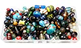 Large Colored Glass Beads Bohemian Style for Jewelry Craft 1 Pound Mixed Lampwork in Storage Container
