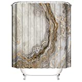 Ciujoy Goldener Stein Marmor Duschvorhang 180x180cm, Anti-Schimmel, Anti-Bakteriell, Wasserdicht aus Polyester mit 12 Duschvorhangringen 3D Digitaldruck, Duschvorhänge für Dusche in Badezimmer