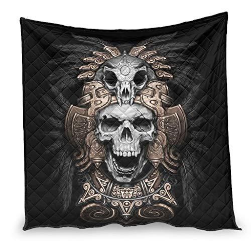 YshChemiy Vikingo cráneo algodón edredón oficina Coverlet suave edredón mantas personalizado ropa de cama adultos niños blanco 130x150cm