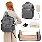 Diaper Bag Backpack, Travel Foldable Baby Bed, Portable Sleeping Mummy Bag, Multifunction Large Capacity Baby Bassinet with USB Charging Port, Waterproof and Stylish, Grey