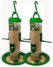 Amijivdaya Large Bird Feeder (Green, Transparent) - Pack of 2