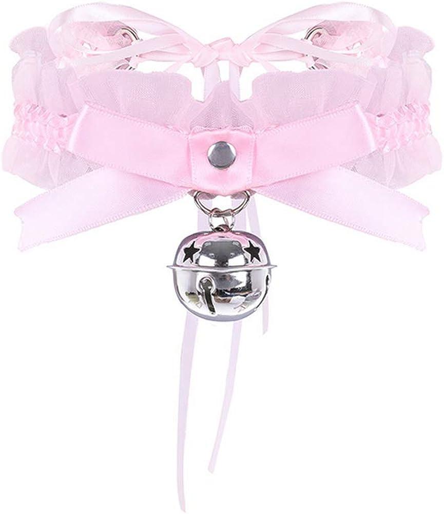Honghu Bell Bowknot Ribbon Choker Necklace Elegant Lolita Gothic Vintage for Womens Festival Jewelry