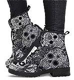 Stiefeletten für Frauen - Komfort-Schnürstiefeletten, Damenmode-Lederschuhe Biker-Stiefel mit...
