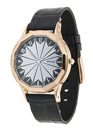 Moog Paris Roulette Damen Uhr mit Schwarzem und Silbernem Zifferblatt, Schwarzem Armband aus echtem Leder - M44902-008