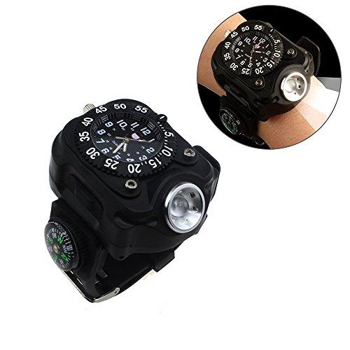 Sunmoch Super Helle 5-Mode Handgelenk LED Licht USB Aufladbar Wasserdichte LED Taschenlampe Fitness tracker Wristlicht Sportuhr Licht mit Kompass,Running Lichter, Radfahren Licht, Camping ,Outdoor Min