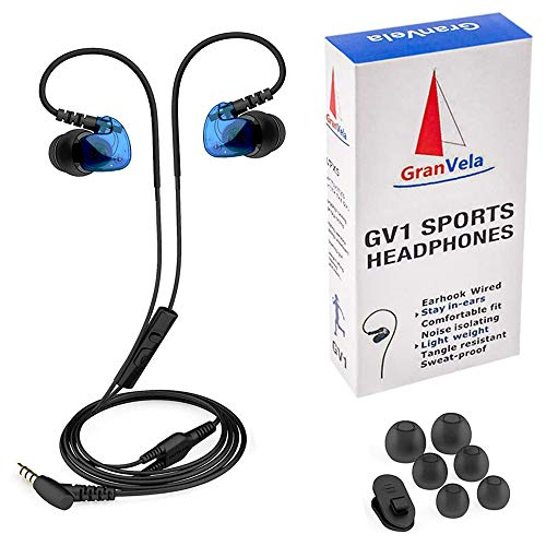 Granvela GV1 HD Classic Sports Earphones IPX5 Waterproof Running Earbuds Wired with Mic, Memory Wire Earhook and Clip - Blue