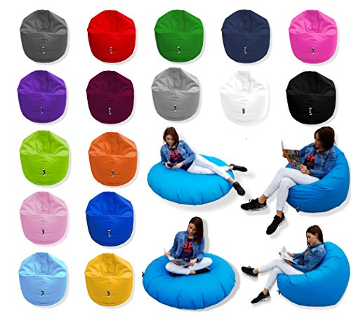 Patchhome 2 in 1 Funktion Sitzsack Sitzkissen Bean Bag - Anthrazit - 100cm Durchmesser in 25 Farben und 3 versch. Größen - fertig befüllt
