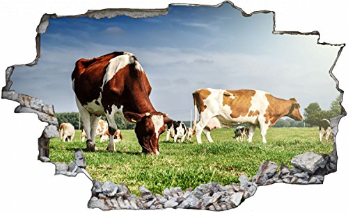 Kuh Wiese Landwirt Weide Wandtattoo Wandsticker Wandaufkleber C0674 Größe 70 cm x 110 cm