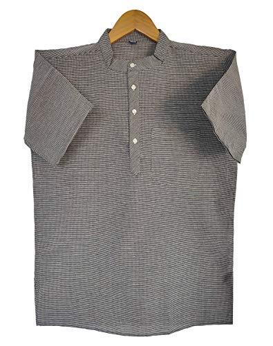 8Latest Chikan Men's Cotton Regular Checkered Short Kurta Half Sleeves – Casual Ethnic Wear,38 Black