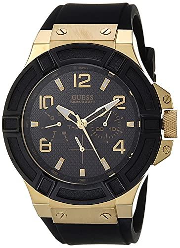 GUESS U0247G3 reloj deportivo para hombre, de tono azul y rosa dorado, de silicona, casual