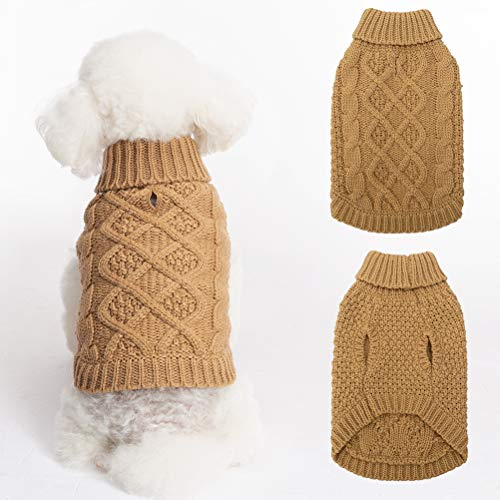 Mihachi Dog Sweater – Winter Coat Apparel Classic Cable Knit Clothes for Cold Winter,Beige,S