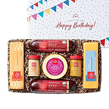 Hickory Farms Birthday Sausage & Cheese Medium Gift Box   Gourmet Food Gift Perfect For Family Birthday Care Package Thinking of You Business Gifts