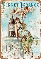 1889 フェルネット・ブランカ リキュール 2 ヴィンテージ ルック 8x12 インチ メタル ブリキ サイン レトロ - 壁の装飾プラーク ポスター メタルプレートブリキ 看板 2枚セットアンティークレトロ
