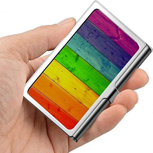 Fondo de tarjeta de visita de metal profesional Tableros multicolores Colores Soporte de madera de arco iris Bolsillo Estuche de tarjeta de visita Portador de tarjeta de visita delgada B
