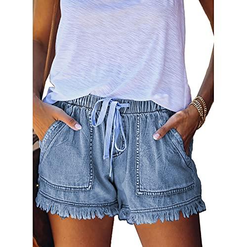 Pantalones Cortos de Mezclilla Informales Retro para Mujer Streetwear Suelto elástico de Cintura Alta Bolsa...