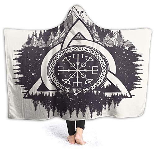 Janrely Custom Hooded Blanket,Celtic Trinity Knot, Awe at The Helm, Aegishjalmur,Tattoo. Vikings,Soft Sherpa Fleece Wearable Throw Blanket Bed Home Sofa Travel 60'X50'