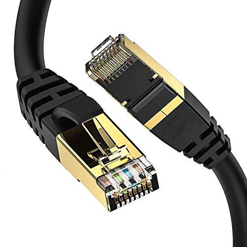isYoung Cavo Ethernet Cat 8-3M 26AWG 40 Gbps 2000 MHz con Connettore RJ45 Robusto Placcato in Oro ad Alta velocità Resistente alle Intemperie S/FTP, Cavo Ethernet Resistente ai Raggi UV