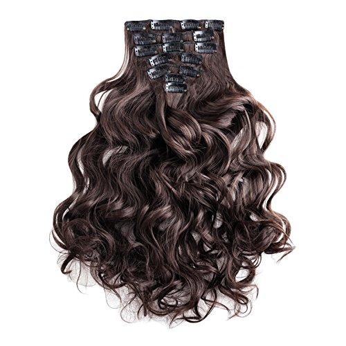Clip en extensiones del conjunto de la extensión del pelo - 7 postizos extensiones de la extensión del pelo de 60 cm de color marrón de la marca MyBeautyworld24