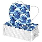 YpingLonk 50/100PC Unisex Bufanda Protectora para Adultos - Moda Universal Linda Wave Print 3 Capas Suave Elástico Earloop Bufanda para Mujeres Hombres -21203-5
