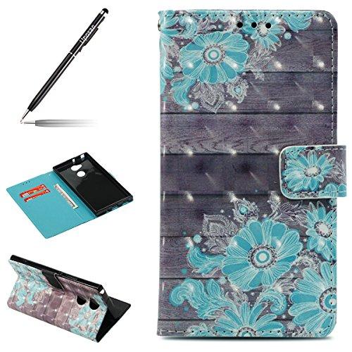 Uposao Kompatibel mit Handyhülle Sony Xperia XA2 Ultra Handytasche 3D Glitzer Glänzend Handytasche Bookstyle Klappbar Flip Hülle Cover Lederhülle Ledertasche Schutzhülle Klapphülle,Blau Blumen