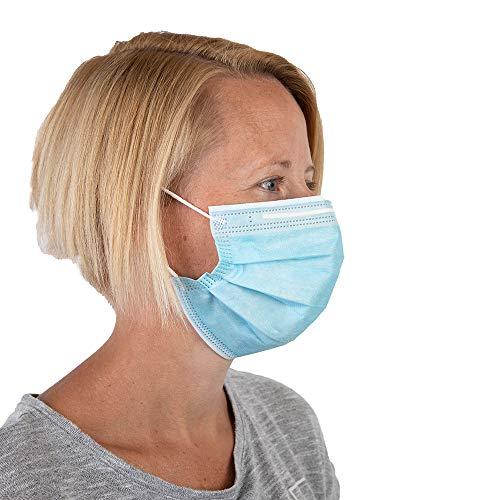 MightyClean 3-lagig Einweg-Gesichtsmaske CR17595 50 pcs - ≥95% Hohe Filtrationseffizienz, Anti-PM2.5, Atmungsaktiver Tragekomfort