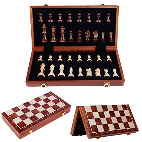 Schach Holzschach, 39 cm x 39 cm Holzschachspiel mit Schachfiguren, Klappspielbrett...